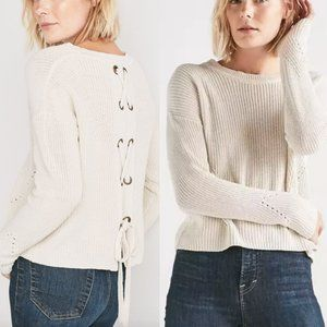 LUCKY BRAND Back Lace Up Pullover Sweater Cream